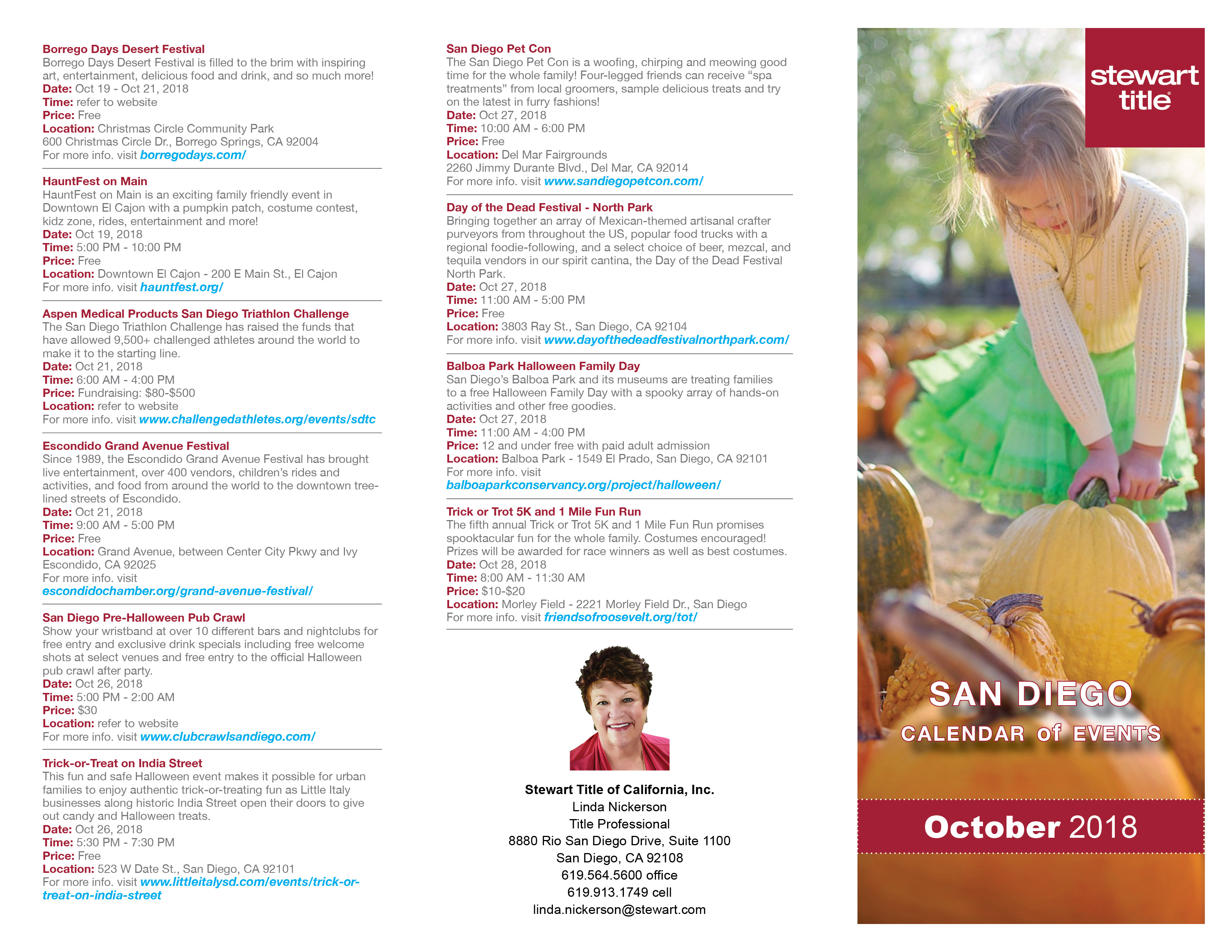 Calendar events SD October 2018-Linda Nickerson
